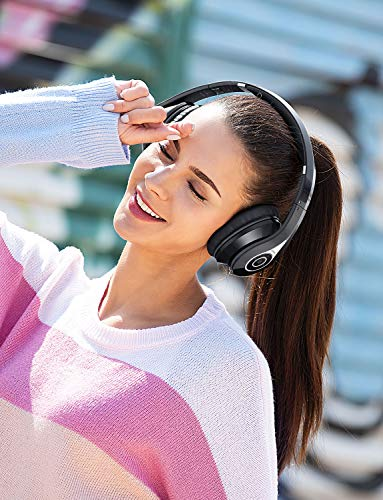 Mpow 059 Bluetooth Headphones Over Ear, Hi-Fi Stereo Wireless Headset, Foldable, Soft Memory-Protein Earmuffs, w/Built-in Mic Wir   ed Mode, for Online Class, Home Office, PC/Cell Phones/TV