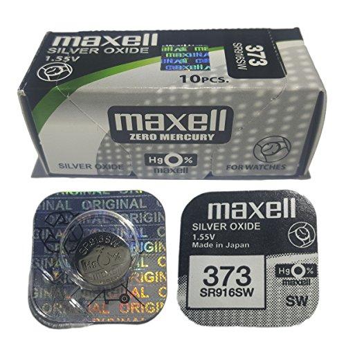 10x Pila Original Maxell 373 SR916SW 1.55V Pila Boton Oxido Plata Maxell
