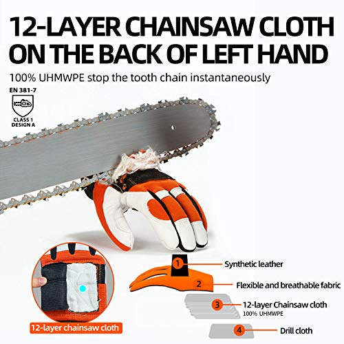 Vgo 1-Pair Chainsaw Work Gloves Saw Protection on Left Hand Back (Size L, Orange, GA8912)