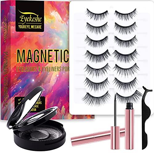 EYEKESHE Pestañas Postizas Magneticas Naturales Incluir Delineador de Ojos y Rizador de Pestañas, Cómodo Impermeable Reutilizable(9 Pares, Portátil de Viaje)