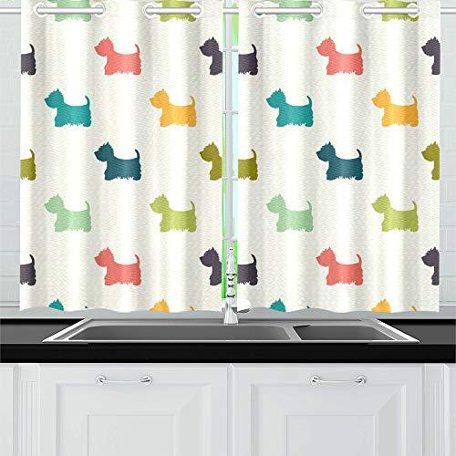 QIAOLII Hund Silhouetten auf Polka Küche Vorhänge Fenster Vorhang Stufen für Café, Bad, Wäscheservice, Wohnzimmer Schlafzimmer 26 X 39 Zoll 2 Stück