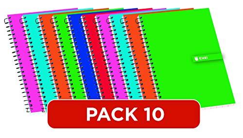 Cuadernos 8º(A6) Enri. Pack de 10 unidades. Tapa blanda. Cuadrícula 4x4. Colores aleatorios.