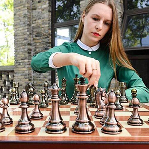 ajedrez de Lujo de Metal Grande, for Adultos Juego de Mesa portátil de Almacenamiento de Madera Caja Plegable Juego de ajedrez, 37 * 37cm