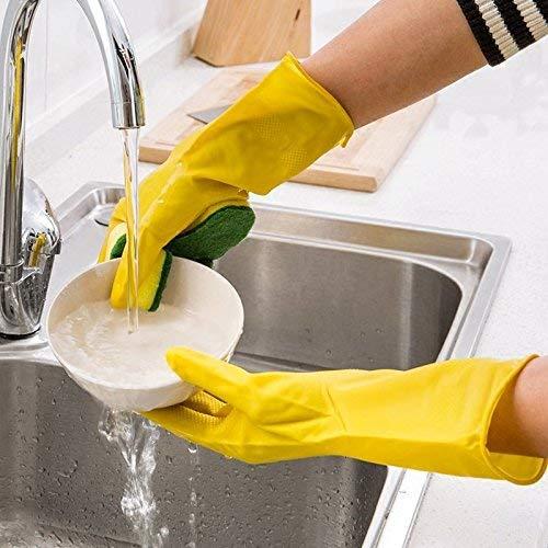Emmala emulsie handschoenen single keuken wasmachine waterdicht ontvetten schoonmaken handschoenen huishouden eenvoudige stijl handschoenen vaatwasbak keuken handschoenen (één maat wrijvingsspons)