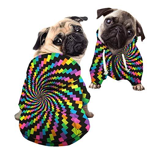 HUGS IDEA Sudadera con capucha para perro, diseño de cubo de arco iris, diseño de cubo de arco iris, ropa de calle para mascotas, sudadera de algodón y poliéster con sombrero – M