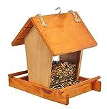 Vogelfutterhaus aus Holz Futterhaus Vogel Futterstation 20 x 16 x 22 cm mit 2 Plexiglasscheiben