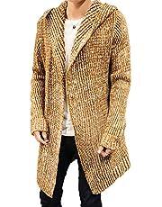 AMBLY コーディガン メンズ 厚手 フード付き 大きいサイズ ニット カーディガン ロング丈 パーカ ミックス調 羽織 きれいめ カジュアル メンズファッション アウター