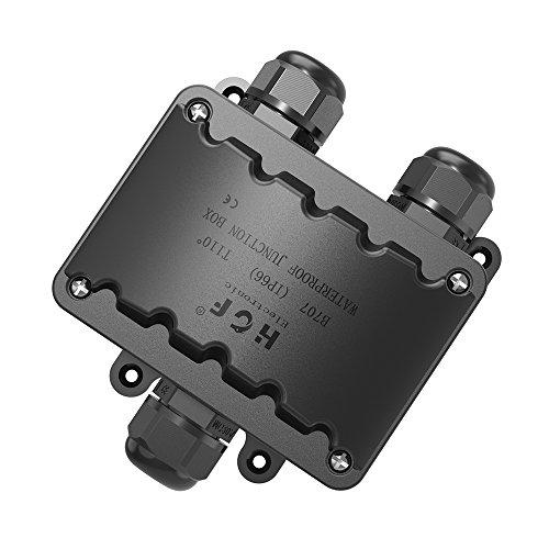 Abzweigdose,IP66 wasserdicht Kabelverbinder aussen, größere 3-Wege-Verbindungsdose Erdkabel Schwarz elektrischer Außenverteilerdose, M20 Kabelverschraubung 9mm-14mm (ABS + PVC)