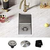Kraus KHU101-10 Standart PRO Undermount 16 Gauge Stainless Steel Single Bowl Bar Prep Kitchen Sink, 10 Inch