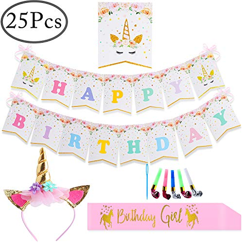 Standie 25PCS Bunting Banner for Unicorn Party Supplies Girls Kids Birthday Decorations,Include Letter Cards,Ribbon,Gold Headband and Girl Sash