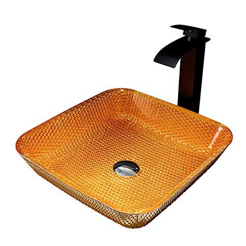 Lujoso Lavabo de Cristal con Grifo de Cascada, Lavabo de Vidrio Cuadrado Lavabo sobre Instalación en Encimera Lavabo sobre para Baño, 390mm*390mm*110mm,Silver Orange