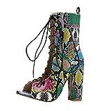 LILICHIC Lacets Bottes Imprimé Serpent Talon Haut Boots Ajourée Escarpins Femme Chaussures Bottines Ankle Boots...