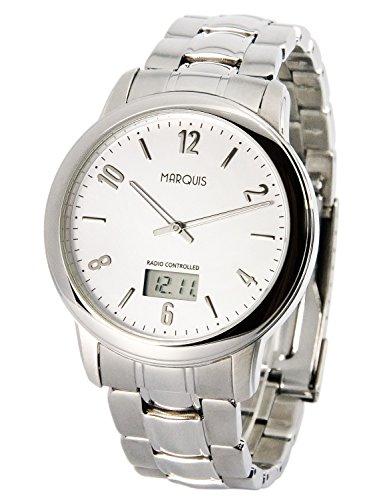 Elegante MARQUIS Herren Funkuhr (Junghans-Uhrwerk) Gehäuse und Armband aus Edelstahl 964.6047