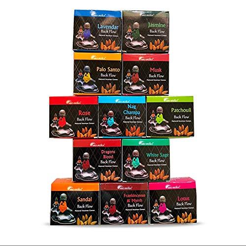 ARO VATIKA Backflow Natural Incense Cones 12 Packets Total 120 pcs of 10 fragrances (Dragons Blood, Lavender, Musk, Nag Champa, Palo Santo, Rose, Patchouli, Sandal, White Sage, Lotus)