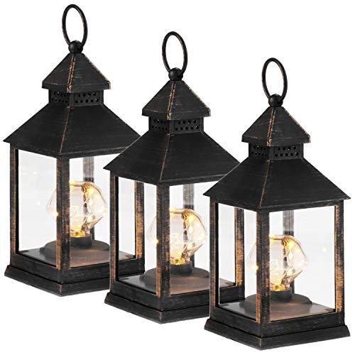com-four® 3X LED Laterne mit Timer-Funktion - LED Beleuchtung zu Weihnachten - Batteriebetriebene Elektro-Laterne als Weihnachtsdekoration (03 Stück - schwarz/goldfarben Diamant)