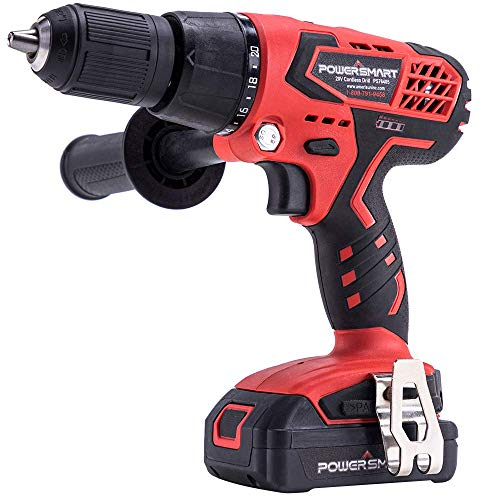PowerSmart Cordless Drill Driver - 20V Drill Lithium-Ion Battery & Charger, 45 N.M Torque, 1/2'' Keyless Chuck, 20+1 Clutch, Variable Speed, Built-in LED, Drilling Wall Brick Wood Metal PS76405A