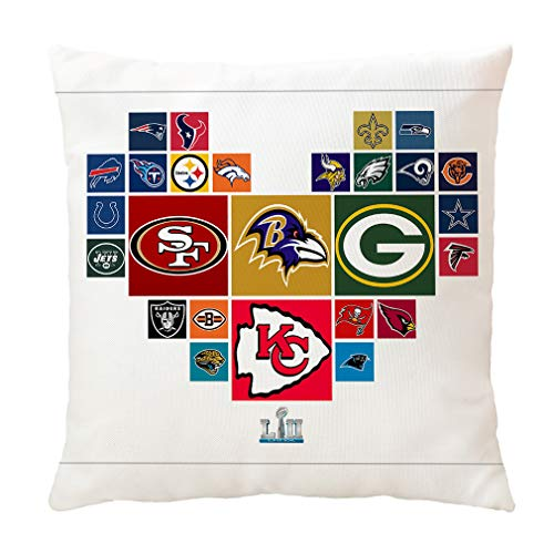 Doomfist Football Team Throw Pillow Covers Pillow Cases Decorative Pillowcase Double Faced Protecter with Zipper Without Insert for Sofa, Car, Office, Bed, Chair (Super Bowl)