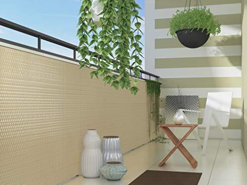 Dynamic24 Polyrattan PVC Sichtschutzmatte 300x90cm Balkon Sichtschutz Zaun Windschutz beige