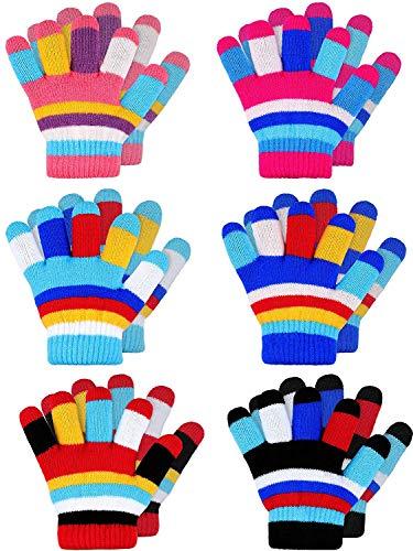 WENTS Stretch Vollfinger Handschuhe 6 Paare Kinderwinter Gestrickte Streifenhandschuhe Niedliche Volle Fingerhandschuhe 2-7 Jahre alt