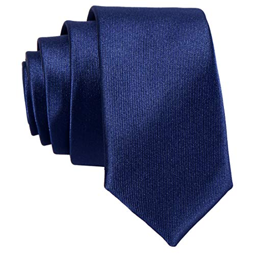 DonDon schmale dunkelblaue Krawatte 5 cm glänzend