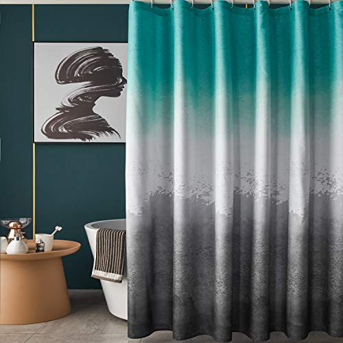 TUDECO Ombre Fabric Shower Curtain Set - Fashion Grommet Top Aqua and Grey Ombre Shower Curtain Waterproof with 12 Hooks, 72 x 72 Inch, 1 Panel