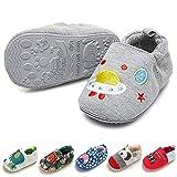 Timatego Toddler Baby Boys Girls Shoes Non Skid Slipper Sneaker Moccasins Infant First Walker House Walking Crib Shoes(6-24 Months) Baby Slipper 9-12 Months Infant, 01 Grey Rocket