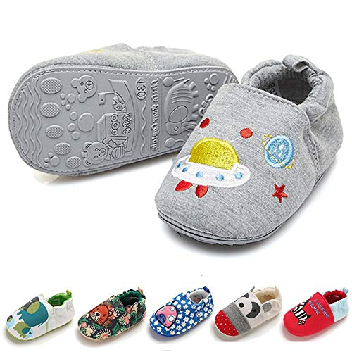 TIMATEGO Toddler Baby Boys Girls Shoes Non Skid Slipper Sneaker Moccasins Infant First Walker House Walking Crib Shoes(6-24 Months) Baby Slipper 6-9 Months Infant, 01 Grey Rocket