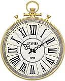 GJJSZ Reloj Colgante de Oro de Hierro Forjado Circular 3D con Anillos ovalados Reloj de Pared de Cuarzo clásico Reloj de Pared Circular de Hierro para Sala de Estar Reloj Decorativo Vintage