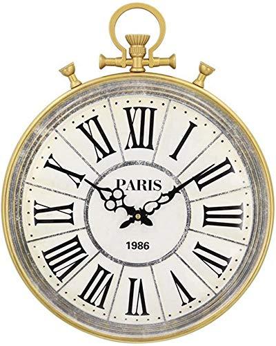 GJJSZ Reloj Colgante de Oro de Hierro Forjado Circular 3D co
