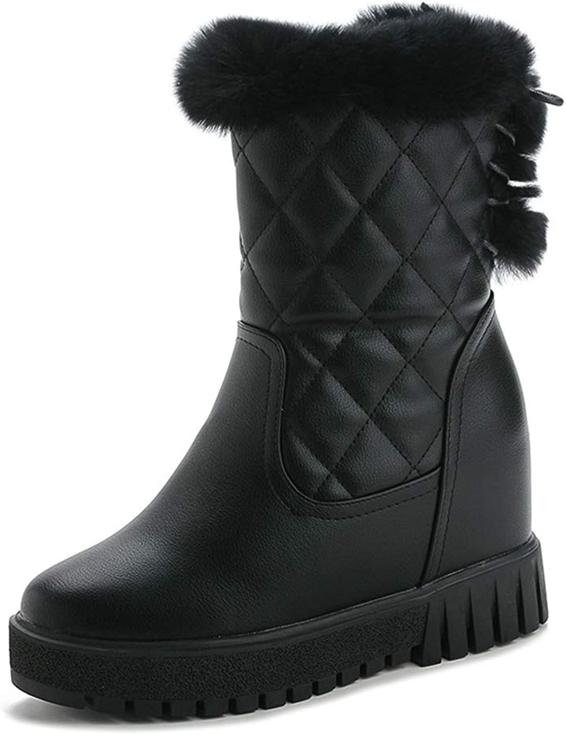 CYBLING Women's Quilted Ankle Mid Calf Boots Fluffy Fur Hidden Wedge Winter Snow Boots