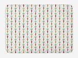 ABAKUHAUS Zanahorias Tapete para Baño, Verduras repetidas Alineados, Decorativo de Felpa Estampada con Dorso Antideslizante, 45 cm x 75 cm, Blanco Multicolor