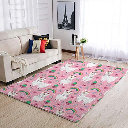 Alfombra suave para salón, dormitorio, porche, diseño de alpaca, color blanco, 122...