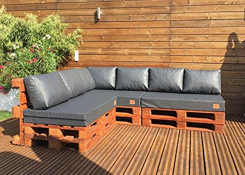 MH Palettenkissen Palettenauflage Sitzkissen Palettensofa Euro Paletten Kunst Leder (120 x 80 x 15 cm, Anthrazit)