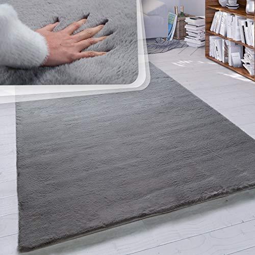 Paco Home Hochflor Teppich Wohnzimmer Kunstfell Super Soft Einfarbig in Versch. Größen und Farben, Grösse:140x200 cm, Farbe:Anthrazit