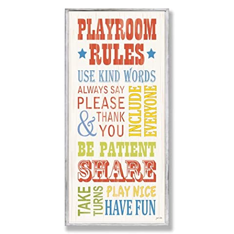 The Kids Room by Stupell Playroom Rules Use Kind Words Rectangle - Sale: $24.54 USD (18% off)