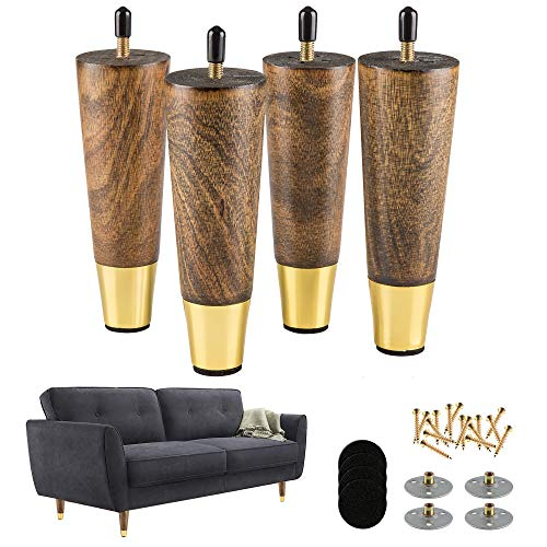 ALAMHI Wood Furniture Leg Sofa Legs 6 Inch Brown Round Tapered Mid-Century Modern Feet with Brass Base Replacement 5/16 inch Bolt for Cabinets,Coffee Table,Ottoman,TV Stand,Loveseat,Armchair Set of 4