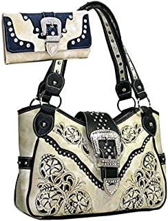 Western Rhinestone Studs Handbag Purse With Matching Wallet