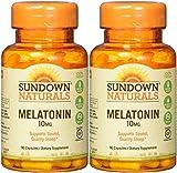 Sundown Naturals Melatonin, 10mg, 180 Capsules (2 X 90 Count Bottles)