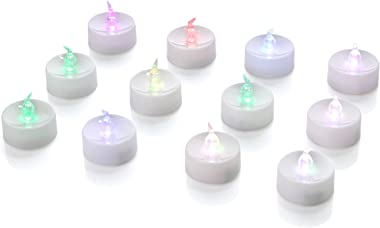 Homemory 24 Pack LED Tea Lights Candles, 7 Color Changing Flameless Tealight Candle, Long Lasting Battery Operated Fake Candl