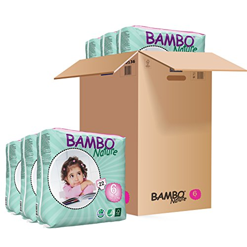 Bambo Nature Windeln XL Short, Gr. 6 (16-30 kg), 6er Pack (6 x 22 Stück)