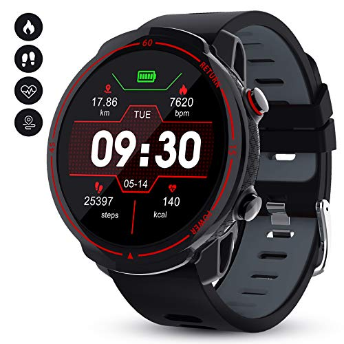 GOKOO Smartwatch, Herren Männer Fitness Tracker 1,3 Zoll Voller Touch Screen Bluetooth Armbanduhr wasserdichte GPS Sportuhr Pulsuhren Schrittzähler Schlafmonitor Stoppuhr für Android IOS
