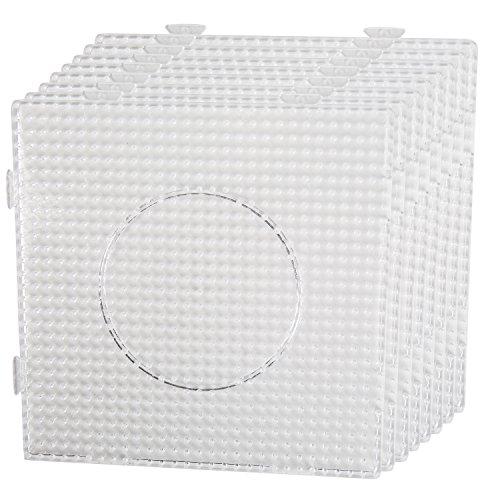 Smowo 8 Bügelperlen Platten - Steckplatten Quadratisch und transparent - zusammensteckbar mit Stiftplatten - 14,5 x 14,5 cm