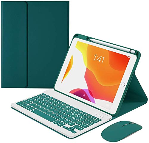 FANG Keyboard Case for Ipad Air2 9.7 Inch, Detachable Wireless Keyboard with Pencil Holder, Keyboard with Bluetooth Mouse,Deep Green-Without Backlit