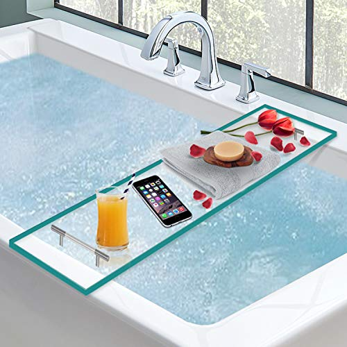 Luxury Bathtub Caddy, Clear Acrylic Bath Tray With Rust-Proof Stainless Steel Handles, Bath Accessories Tray, Bath Tub Organizer For Soap, Wine Glass, Book, Tablet, Towel and More (Turquoise)