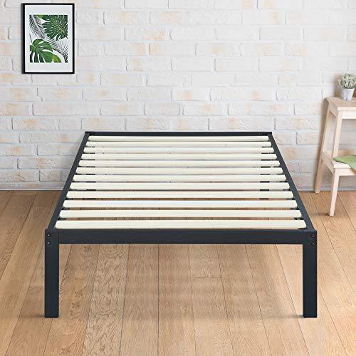 Olee Sleep 14 Inch Modern Metal Platform Bed Frame / Mattress Foundation / Wood Slat Support / No Box Spring Needed, Twin, Black