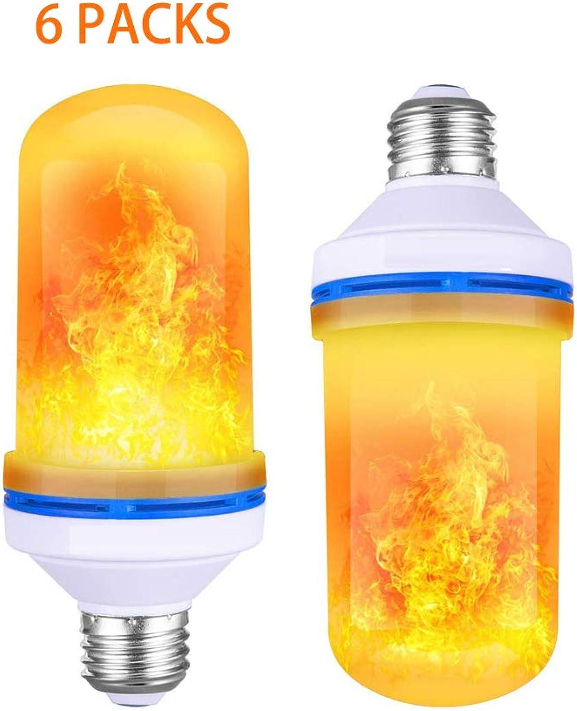 HHCC LED-Flammeneffekt-Glühbirne 9W E27 mit 4 Beleuchtungsmodi und umgedrehten Lampen mit Standardatmosphre für die Dekoration von Festtagen,6packs