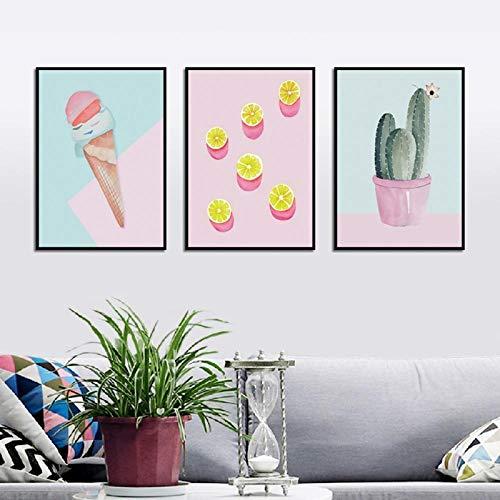 Cartoon ijs citroen dessert fabriek canvas schilderij muurschildering foto poster en afdrukken woonkamer woondecoratie 40x60 cm x 3 (geen frame)