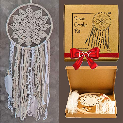 Mandala Life ART DIY Dream Catcher Kit 10x28 inches - Make Your Own Bohemian Wall Hanging with All-Natural Materials - Creative Activity Set Includes Premium Lace, Yarn, Feathers and Wooden Hoop