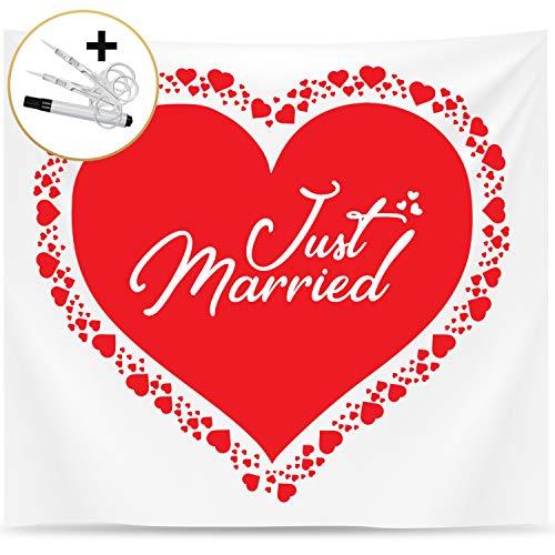 Fairytale Wedding © Hochzeitsherz zum Ausschneiden für Brautpaar - Schönes Bettlaken mit Herz zum Ausschneiden für Hochzeit - Hochzeitslaken zum Ausschneiden für standesamtliche Überraschung