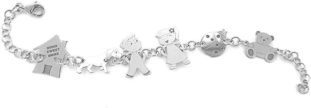 Bracciale personalizzato con 6 componenti della tua Famiglia con incisione gratis di nomi, in argento 925 rodiato.
